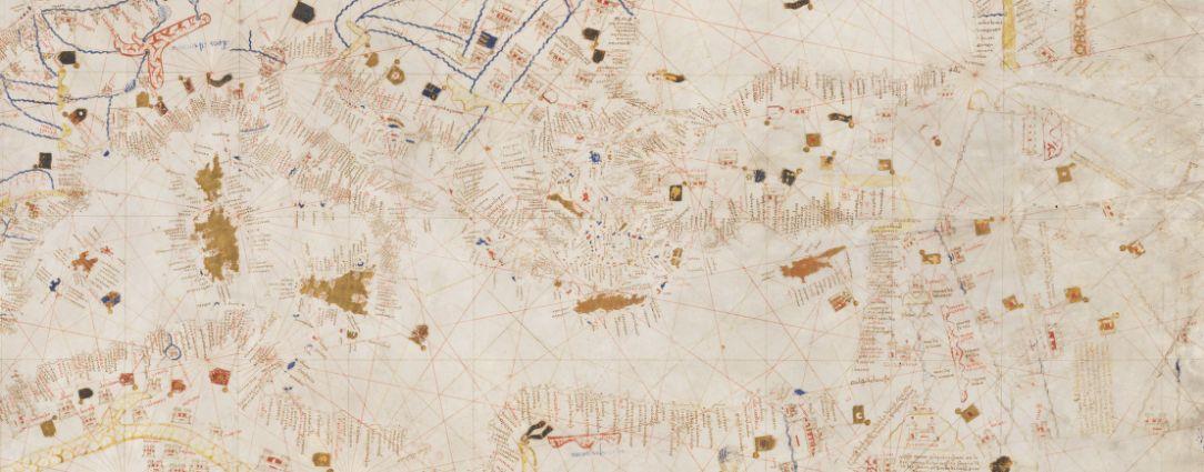 Carte marine, Mecia de Viladestes me fecit in anno MCCCCXIII, détail. Source : Bibliothèque nationale de France, http://gallica.bnf.fr/ark:/12148/btv1b55007074s